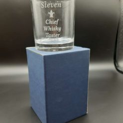 Personalised Chief Whisky Taster Tumbler in a Blue Gift Box