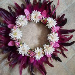 Pink feather silk flower wreath wall decor boho
