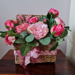 GIFT - FLORAL ARRANGEMENT  - 'Strawberry Shortcake' picnic basket floral arrangement