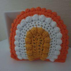 Crochet baby rainbow rattle toy