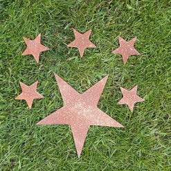 A Rusty Metal STAR + 5 x SMALL STARS Garden Ornament Rustic Vintage Gift Birthday