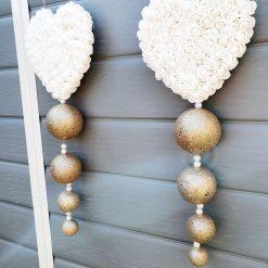 Rose Heart Glitter Ball Plaque