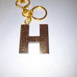 H keyring coffee colour with gold glitter
