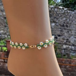 Daisy anklet. Unique beaded ankle bracelet. Cute seed bead daisy chain. Ankle bracelets for women. Ankle cuffs jewlery homemade bracelets