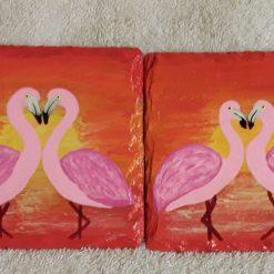 Hand painted slate coasters x2 flamingo