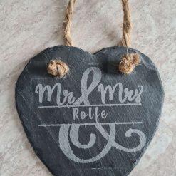 Mr & Mrs hanging slate heart.