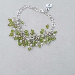 Sterling Silver Bracelet with Polished Peridot Nuggets & Freshwater Pearls