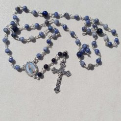 Sterling Silver Rosary with Sodalite & Tigers Eye