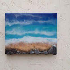 Acrylic and resin mixed media beach scene