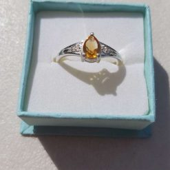 Sterling Silver Ring set with Pear-shaped Citrine