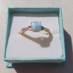 Rose Gold Plated Sterling Silver ring set with Larimar Stone