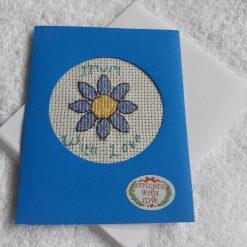 Pink flowers cross stitch card