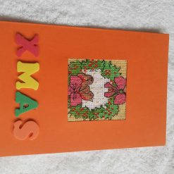 Crazy christmas cat cross stitch card