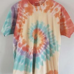 Tie dye t-shirt - rainbow swirl unisex adult large