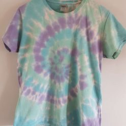 Tie Dye t-shirt  - blue, purple and green ladies fit large