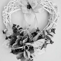 WREATH - White & Silver 16in Wicker Heart