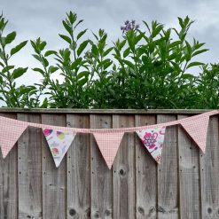 Bunting garland. Afternoon tea and pink gingham. Great for parties and weddings