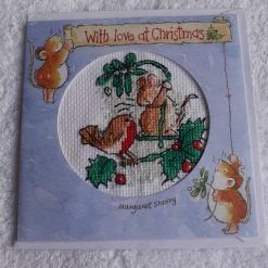 Christmas robin and mouse cross stitch card
