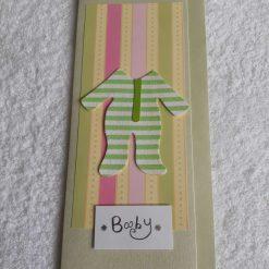 Handmade silver bear new baby girl card