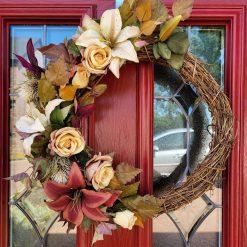 Large Hand made artificial silk flowered door wreath