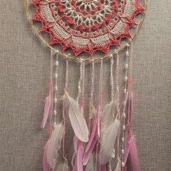 Pink & White Crochet Design Dreamcatcher