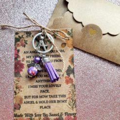 Angel Keepsake Keyring Wallet Card Mum