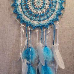 Turquoise & White Crochet Design Dreamcatcher