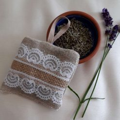 Lavender bag/hanging pouch. Calming and relaxing.  Jute and lace