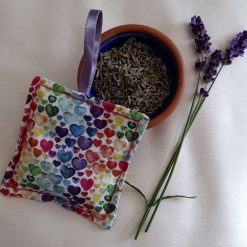 Lavender bag/hanging pouch. Calming and relaxing.  Rainbow hearts fabric.