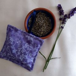 Lavender bag/hanging pouch. Calming and relaxing.  Lavender leaves fabric
