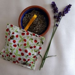 Lavender bag/hanging pouch. Calming and relaxing.  Bees and strawberries fabric