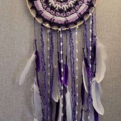 Purple & White Crochet Design Dreamcatcher