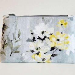 Make Up Bag, Cosmetic Bag, Pencil Case. Handmade Grey Daisy Bag