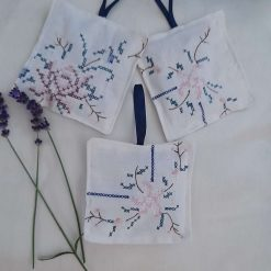 Lavender bag/hanging pouch. Vintage hand embroidered Calming and relaxing.