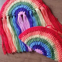 Crochet rainbow wall hanging nursery decoration