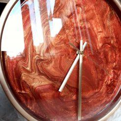 Handmade wall art clock resin copper gold