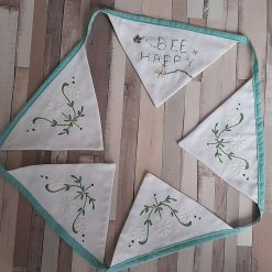 Bee Happy🐝 Hand embroidered vintage bunting garland. Home decor gift