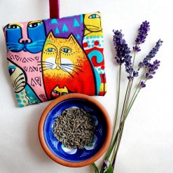Lavender bag/hanging pouch. Calming and relaxing. Quirky cats silk