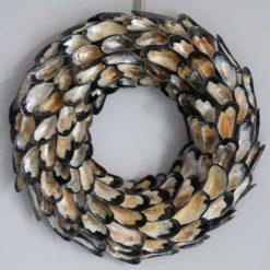 Mussel shell wreath, seashell wreath for a beach house