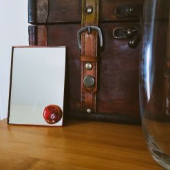 Unique Glass Mirror - red ceramic jewel stone