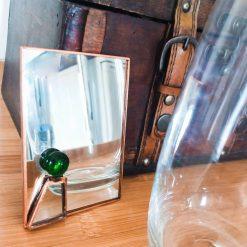 Unique Glass Mirror - green glass jewel stone