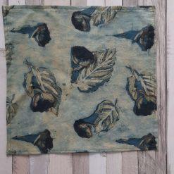 Handkerchief. Handmade in eco friendly hand block printed cotton 26cms Green leaves