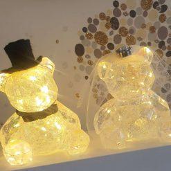 Wedding bride & groom light up teddy bears, cake topper, or gift