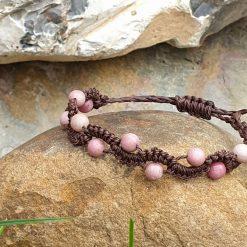 Gemstone bracelet with Rhodocrosite beads