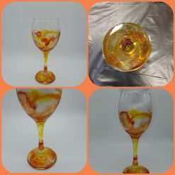 Hand painted and resin art glassware (Phoenix Rising)