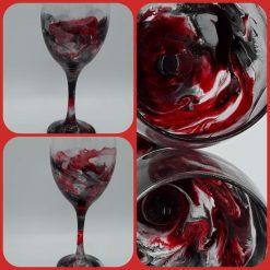 Hand painted resin art wine glasses (Mercury Calling)