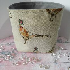 Small canvas fabric basket in a lovely Bee design - fully lined