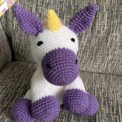 Handmade Crochet Unicorn Weighted Doorstop or Bookend