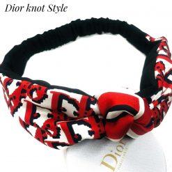 Dior scarf upcycled - red Dior monogram- headwrap/ silk-headband/ stretchy headband