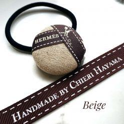 Hermes ribbon hairband/ hairtie- beige